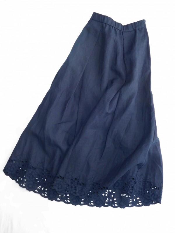 617105スカラップローズスカート ¥26.000+tax Col.#1オフ白#2ネイビー Del.5月