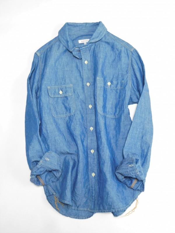 SR1701 オーセンティックシャンブレーシャツ ¥17.000+tax Col.#1ブルーシャンブレー Size#0#1#2 Del.1月