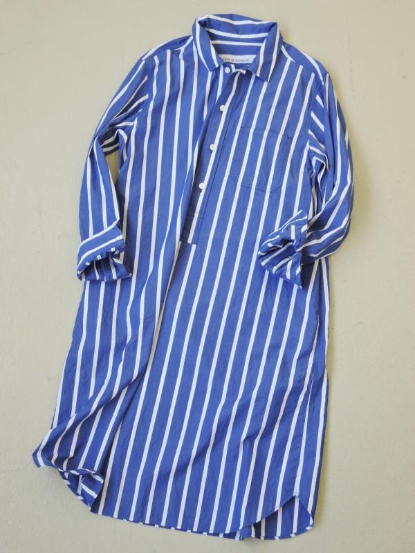 816303 コーネルシャツワンピース ¥20.000+tax Col.#1白ベース #2ブルーベース Del.8月